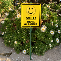 Smile you're on camera sign for front yard