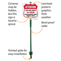 Under video surveillance sign for lawn