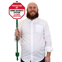 Home security sign with stake, reflective for night visibility