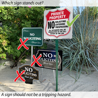 No soliciting, no trespassign signs
