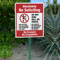 No soliciting sign with stake