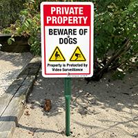 Property under video surveillance beware of dog sign