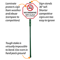 No Smoking Within 75 Feet LawnBoss Sign