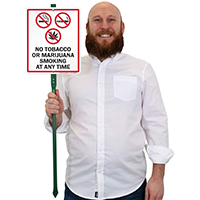 No Tobacco Or Marijuana Smoking LawnBoss Sign