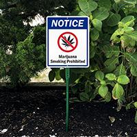 Notice Marijuana Smoking Prohibited LawnBoss Sign
