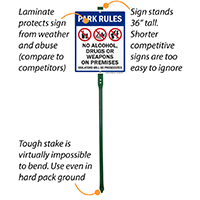 Park Rules Violators Will Be Prosecuted LawnBoss Sign