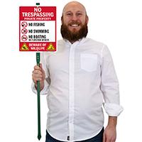 No Trespassing Beware Of Wildlife LawnBoss Sign