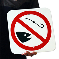 No Fishing Sign, With Symbol