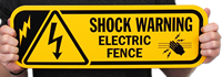 Electric Fence Shock Warning Sign With Graphic