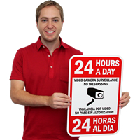 Bilingual 24 Hours Video Camera Surveillance Signs