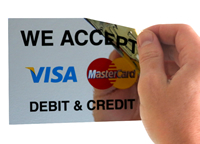 We Accept Debit And Credit Labels