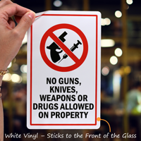 No Guns, Weapons or Drugs Allowed Glass Decal