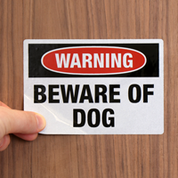Beware Of Dog Label Set