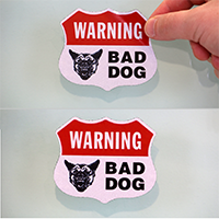 Dog Warning Shield Label Set