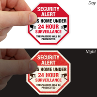 Security Alert Home Under 24 Hour Surveillance Label Set