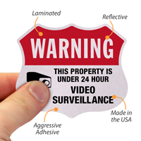 24 Hour Surveillance Shield Label Set