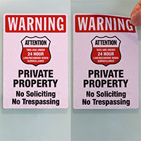 Warning - No Soliciting, No Trespassing Label