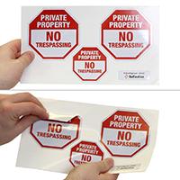 No Trespassing Private Property Label Set