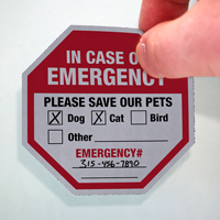 In Case Of Emergency Please Save Our Pets Label