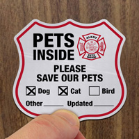 Pets Inside Shield Label