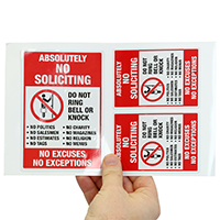 No Soliciting Label