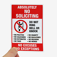 No Soliciting Label Set For Security