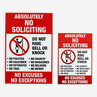 Absolutely No Soliciting - Do Not Ring Bell Label
