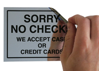 Sorry No Checks Cash/Credit Card Only Labels