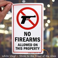 On Property No Firearms Allowed Sign