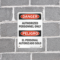 Danger Authorized Personnel Only Bilingual Sign