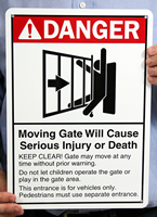 ANSI Danger Moving Gate Signs