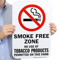 No Use Of Tobacco Products Permitted On This Farm Sign