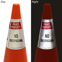 Private Property No Trespassing Cone Message Collar Sign