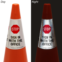 Stop Sign In With The Office Cone Message Collar Sign