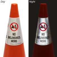 No Deliveries Here Cone Message Collar Sign