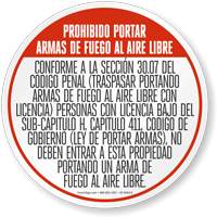 Texas Open Carry Regulations In Spanish Sign