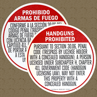 Handguns Prohibited Floor Sign Combo, Section 30.06 Texas