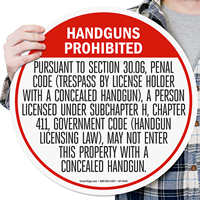 Concealed Carry Of Handguns Prohibited Sign