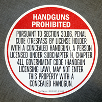 Handguns Prohibited In English Floor Sign