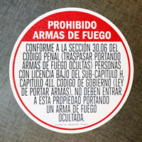 Handguns Prohibited In Spanish Floor Sign