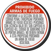 Handguns Prohibited Floor Sign For Texas