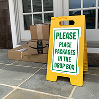 Place Packages In The Drop Box FloorBoss Sign