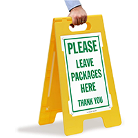 Leave Packages Here Thank You FloorBoss Sign