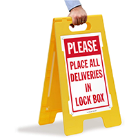 Place All Deliveries In Lock Box FloorBoss Sign