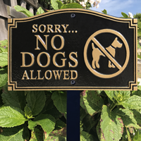 Sorry No Dogs Allowed Plaque With Stake