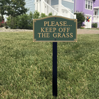 Keep Off Grass Statement Plaque With Stake