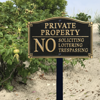 No Soliciting,Trespassing Statement Plaque
