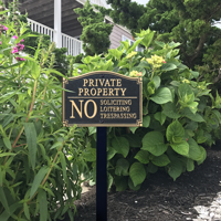 No Soliciting, Trespassing Statement Lawn Plaque