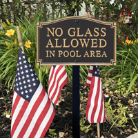 No Glass Allowed Statement Plaque With Stake