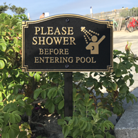 Shower Before Entering Statement Lawn Plaque